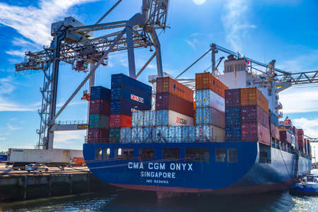 tonnage: Large container vessel unloaded in Port of Rotterdam, Netherlands