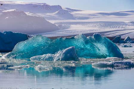 frozen lake: Floating icebergs in the Glacial Lagoon Jokullsarlon, South Iceland