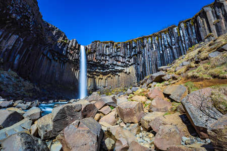 Svartifoss waterfall in the Skaftafell National Park, Iceland Stock Photo
