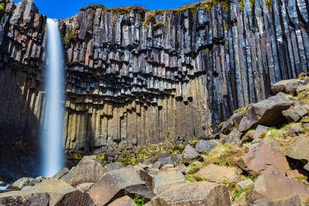 Svartifoss waterfall in the Skaftafell National Park, Iceland Stock Photo