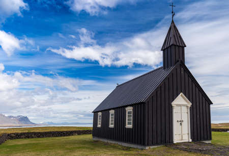 Black church known as Budakirkja in Budir, Iceland