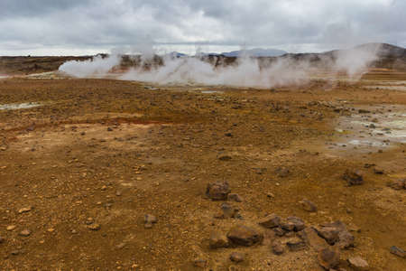 Geothermal Area Hverir, Hverarond, Northern Iceland Stock Photo