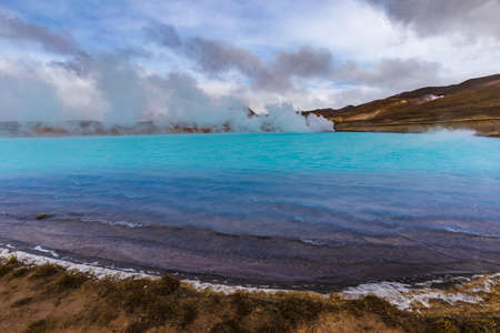 vapour: Hverir geothermal area also called Blue Lake near Myvatn lake, Northern Iceland Stock Photo