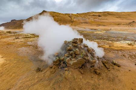 Geothermal Area Hverir, Hverarond, Northern Iceland Stock Photo