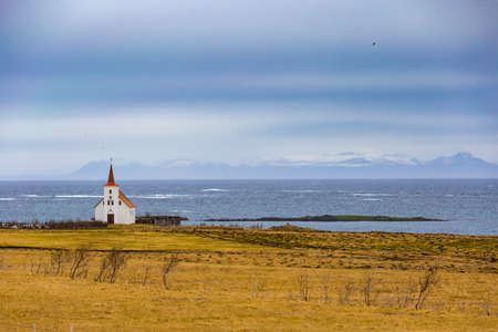 Typical red-roofed church in Westfjords, Iceland