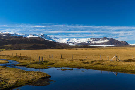 Picteresque view of Vatnajökull National Park and Hvannadalshnúkur peak, South Iceland Stok Fotoğraf