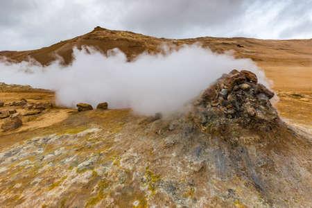 Geothermal Area Hverir, Hverarond, Northern Iceland Stok Fotoğraf