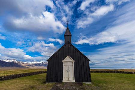 Black church known as Budakirkja in Budir, Iceland