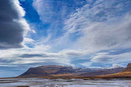 lenticular: Scenic view of Westfjords, close to Raudisandur beach, Iceland