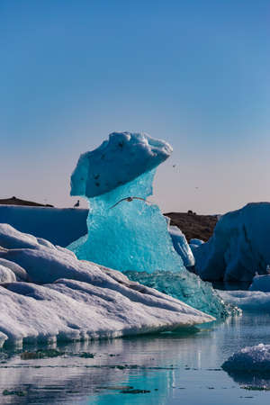 Floating icebergs in the Glacial Lagoon Jokullsarlon, South Iceland