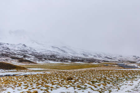 Iceland during snow storm.