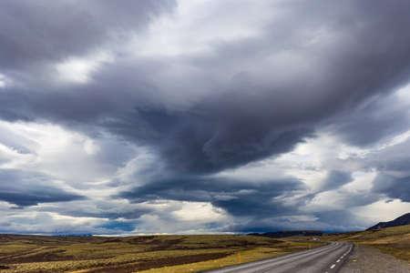 Dramatic cloudscape near Laugarvatn village, Iceland