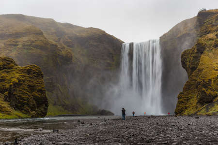 Skogafoss waterfall situated on Skoga River in South Iceland