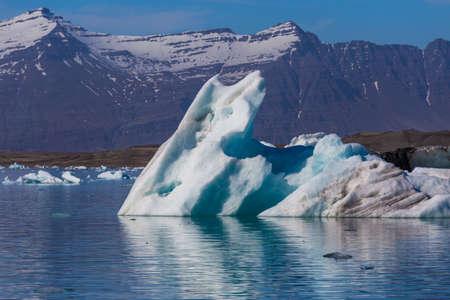 Floating icebergs in the Glacial Lagoon Jokullsarlon, South Iceland