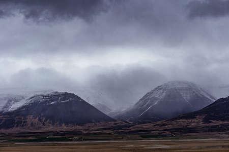 Dramatic cloudscape near Reykir and Glaumbaer in Hrutafjordur bay, North Iceland
