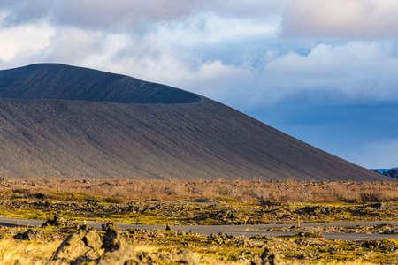 Hverfjall volcanic crater near lake Myvatn in Iceland Stok Fotoğraf