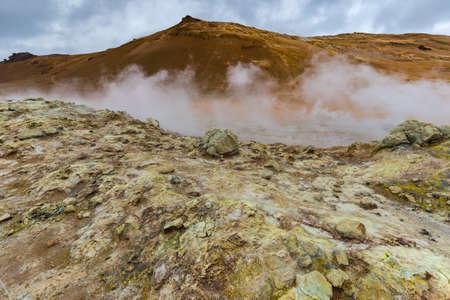 bubble acid: Geothermal Area Hverir, Hverarond, Northern Iceland Stock Photo