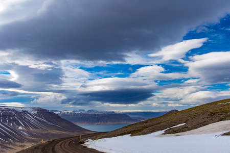 Scenic vista in Westfjords, between Thingeyri a and Hrafnseyri villages, Iceland