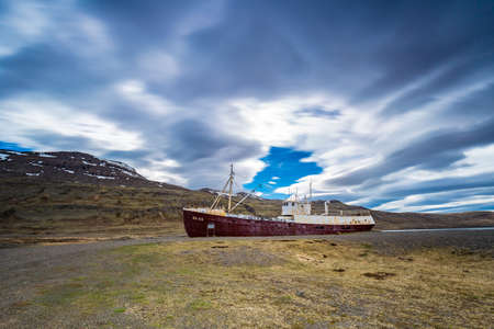 Gardar BA 64 ship wreck in Patrekfjordur, Westfjords, Iceland