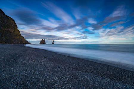 Reynishverfisvegur, Reynisfjara black sand beach near Vik village, Iceland