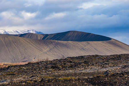 Hverfjall volcanic crater near lake Myvatn in Iceland Stock Photo