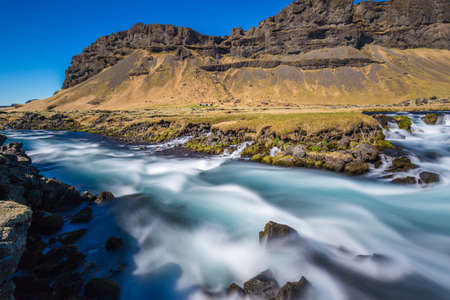 Roadside rapids near Foss á Síðu, Iceland Stok Fotoğraf