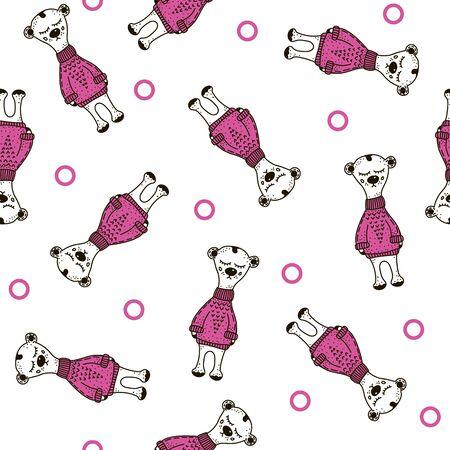 bear teddy polar Seamless pattern. doodle vector.