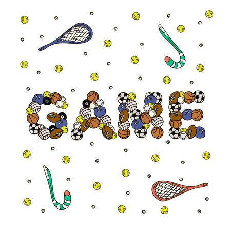 Cartoon cute doodles Gamel word. Colorful illustration. Background with lots of separate objects. vector artwork for them sport. Illustration