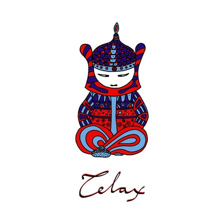 little Buddha in Nirvana. Color illustration and lettering with the word relax.