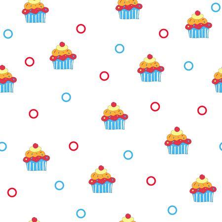 Cake pattern. Seamless background. Vector. Archivio Fotografico - 133311933