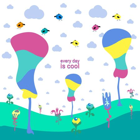 clouds trees birds and bright flowers Cute Cartoon landscapes with mountain. vector of nature