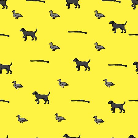 Hunting seamless pattern with guns, dog and ducks. Hunting background vector illustration