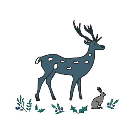 Hand painted characters deer, rabbit and herbs. Natural objects on white background. Vector illustration