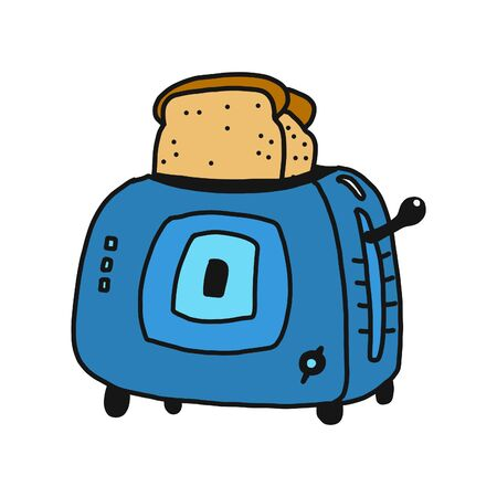 Toaster with toast isolated on hand draw style vector illustration