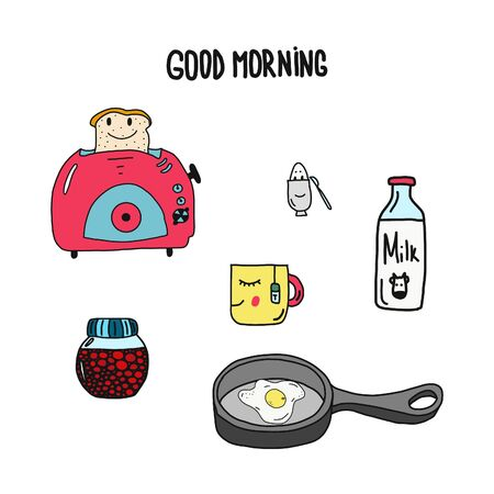 Toaster, toast, a cup of coffee and jam. Characters. Vector illustration.