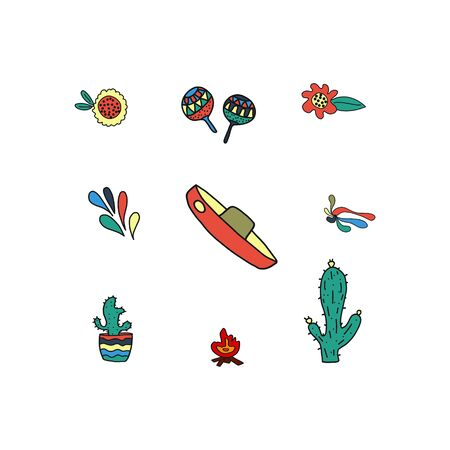Carnival icons isolated on white background. vector illustration, doodle