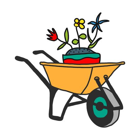 garden cart with summer flowers, hand sketch based on vector illustration. On white background.