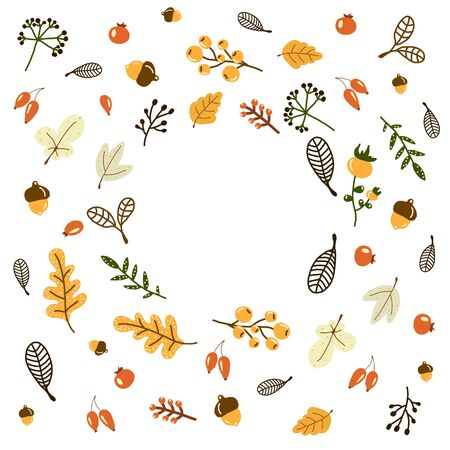 vector wreath of autumn leaves and berries in hand drawn style. Beautiful round wreath of yellow and red leaves, acorns, berries, cones and branches. Decor for invitations, greeting cards, posters. doodle