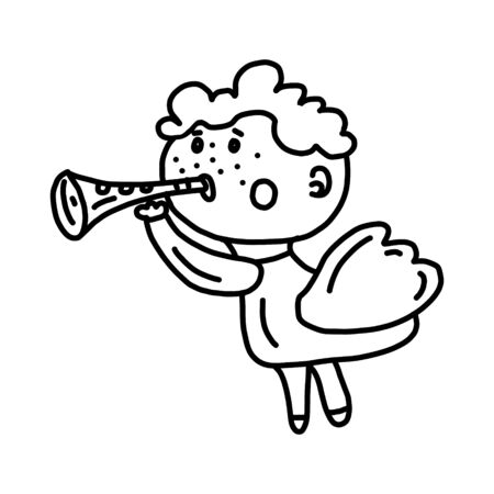 Vector cute flying angel in Doodle style blowing a horn. Hand drawn style. Perfect for invitations or greeting cards.  イラスト・ベクター素材