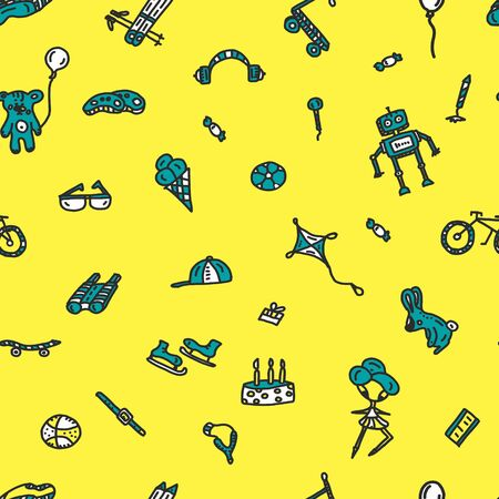 Hand drawn seamless doodle pattern, birthday theme. robot bear ball doll scooter bike baseball ski sunglasses cake the scooter and the other on a yellow background. Archivio Fotografico - 133312103