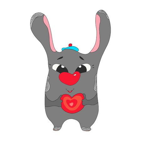 Happy Valentine s Day. rabbit hare puppy head face holding pink heart. Cute cartoon kawaii funny baby animal character. Flat design. Love card. White background. In isolation. Vector