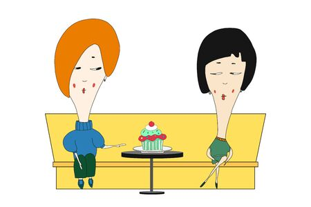 vector version two girls sitting in a cafe and both on a diet. hand reaches for a delicious cupcake. they look at each other. illustration drawn by hands. color.