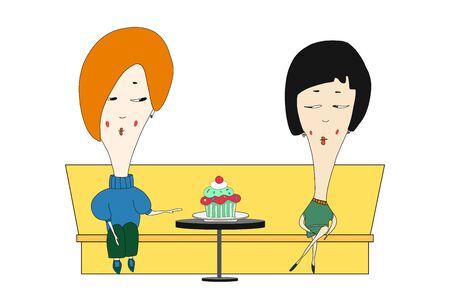 versione vettoriale due ragazze sedute in un bar ed entrambe a dieta. mano raggiunge per un delizioso cupcake. si guardano. illustrazione disegnata a mano. colore. Vettoriali