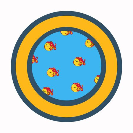 View from the Porthole Window. Vector Cartoon Illustration. goldfish in blue sea. hand drawn.