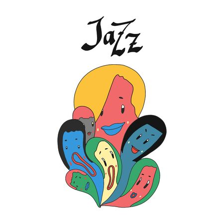 Jazz Vector format. abstract singing group full color illustration in hand drawn.