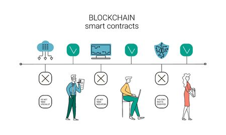 How does a blockchain work: cryptocurrency and secure transactions infographic, uses and benefits. vector illustration. Illustration