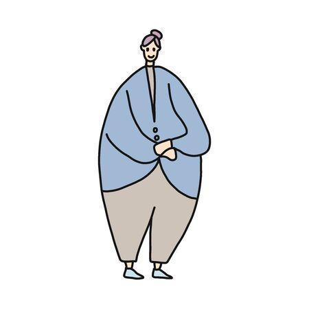 fat woman cartoon illustration Ilustracja