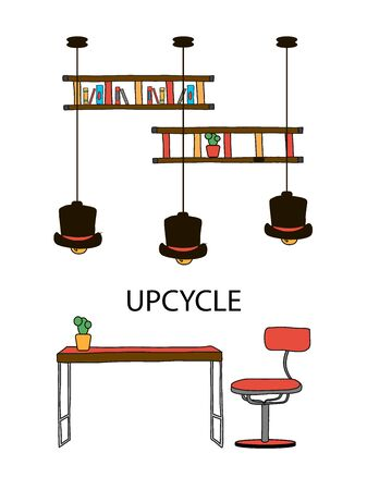 Turning a worn out hat into new bright lights for the creative office at home. re-use of textile materials for new creativity. Handmade tableware Illustration recycling and reuse waste reduction flat vector