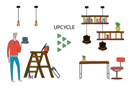 Turning a worn hat into new bright lamps and an old staircase into bookshelves for a creative office in the house. re-use of textile materials for new creativity. Handmade tableware Illustration recycling and reuse waste reduction flat vector