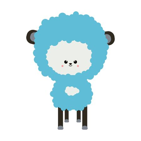 sheep lamb. Cloud shape. Cute cartoon funny smiling character. Decoration of children s room. Pleasant dream. Flat design. Vector illustration on isolated white background Foto de archivo - 137233696